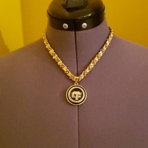 Jewelry - Gold leather chain necklace with button charm